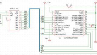 LCDをPMP接続によるDMA転送の回路図
